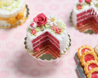 MTO-Coral Pink Velvet Layer Cake Decorated with Hand-sculpted Rose - Miniature Food for Dollhouse 12th scale 1:12