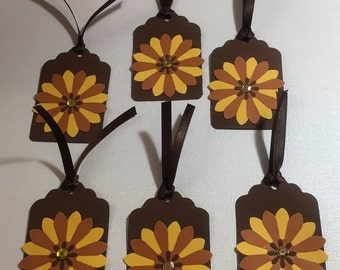 6 Sunflower Yellow and Brown Black Flower Tags Cards Scrapbooks