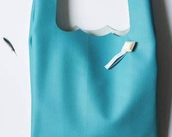 Shopping bag, faux turquoise leather bag, handbag, worn handbag shoulder bag