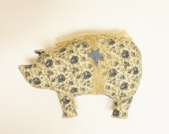 Primitive Pig - Ready To Ship, Old Rose Fabric Pig, Country Farmhouse Decor, Handmade Pigs, Primitive Decor, Fabric Pigs, Pig Decor