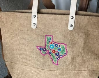 Jute Tote Bag with Oaxacan Inspired Embroidery