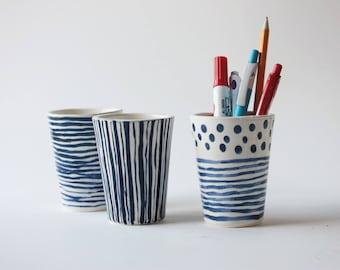 3 Ceramic desk accessories, Ceramic planter, Ceramic tumbler, pen cup, Pencil holder, Ceramic pencil cup, Blue Pencil cup, Blue cup, 6700