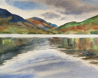 Lake District, Crummock Water, English landscape, landscape, Mountain lake painting, Cumbria, The Lakes, landscape watercolor