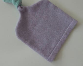 Recycled Purple and Seafoam Cashmere Baby Hat - 6-12 months