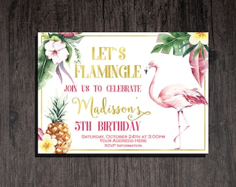 Flamingo birthday invitation Let's Flamingle Invitation Flamingo Invitation Tropical birthday invitation  Pineapple Summer Girl birthday