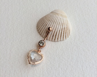 Crystal Heart belly ring,gold belly ring,crystal belly ring,valentines jewelry,valentine,heart,Belly button ring,bellybutton ring,rose gold