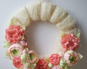 Rustic Crep paper flowers wreath for kids room , weddings decor, baby shower decor, mothers day, home decor, photo prop, easter decor.