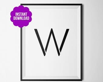 W Sans Serif Printable Poster Black and White Home Decor Minimalist Typography