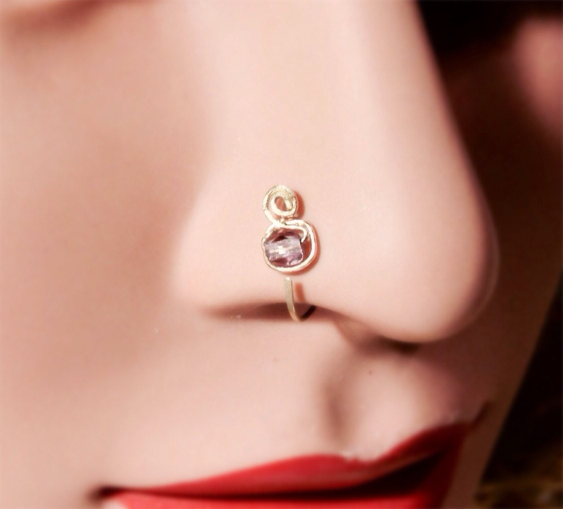Gold and Amethyst nose ring thin nose ring nose hoop nose
