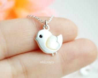 Cute Chick necklace, Bird necklace, Bridesmaid jewelry, Everyday necklace, Wedding necklace