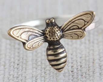 Mixed Metal (Sterling Silver and Oxidized Brass) Fancy Bee Ring