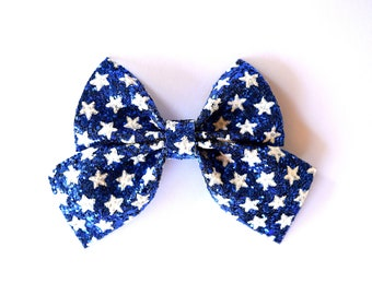 PHOEBE SAILOR Patriotic Stars in White on Navy Glitter Bow Adorable Photo Prop Clip for Girl Child Photo Prop Newborn Bow 4th of July Bow
