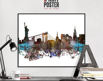 New York City art print, New York City poster, New York City skyline art, NYC distressed wall art, travel decor, home decor, iPrintPoster
