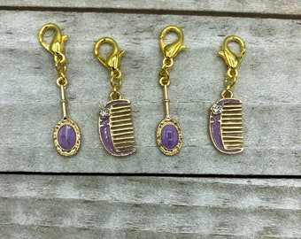 Purple Mirror and Comb Enamel Knitting / Crochet Stitch Markers -set of 4