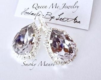 Swarovski Smoky mauve crystal earrings Halo crystal earrings Brides Bridesmaids purple earrings Wedding Bridal halo earrings Jewelry SOPHIA