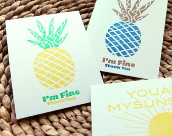 I'm Fine Thank you letterpress postcard
