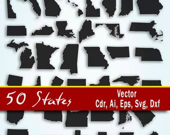 State svg, US state svg, United States Vector, USA States Svg, 50 states clip art, All Usa states, Ai, Svg, Cdr, Eps, Dxg. States map Bundle