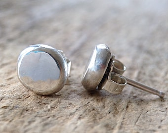 Flat Pebble Earrings, Sterling Silver Stud Earrings, Silver Post Earrings, 925 Stud Earrings, Ball Studs, Sterling Studs, Bohemian Jewelry