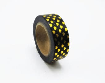 Masking tape black and gold heart - wrapping, packaging, washi tape with hearts gold