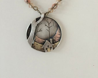 Somewhere we can hide:Silver and mixed metals necklace; handmade sterling silver