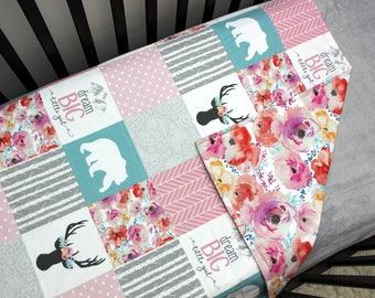 Pink Blue Baby Girl Bedding, Girl Crib Quilt, Woodland Baby Quilt