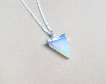 CLEARANCE Opal Quartz Necklace // Opalite Triangle Necklace // Rainbow Opal Necklace // Geometric Gemstone Jewelry IMPERFECT DISCOUNTED