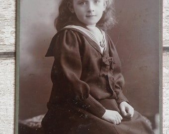 Paul Coe Expert Royal Photographer Cabinet Card of Young Girl Early 1900's in sailor suit