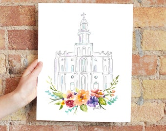 LDS Temple watercolor (St. George), St. George Temple
