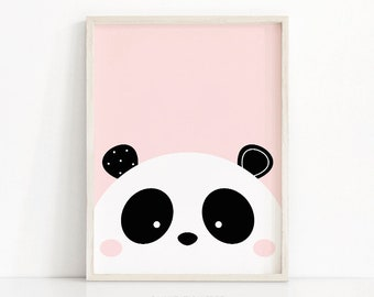 Panda Print, Digital Download Nursery Print, Baby Girl Nursery Art, Girls Room Art, Panda Nursery Decor, Instant Download Printable Nursery