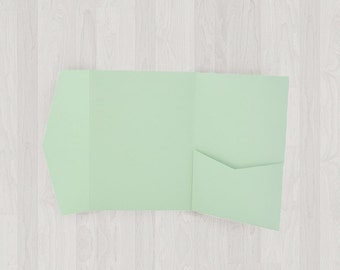 10 Mini Pocket Enclosures - Mint & Light Green - DIY Invitations - Invitation Enclosures for Weddings and Other Events