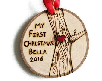 Babys first christmas ornament, baby ornament, baby ornament personalized, baby gift, wood ornament, my first christmas ornament, valentine