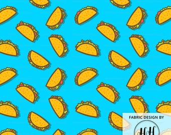 Taco Party Fabric By The Yard / Whimsical Ditsy Taco Fabric / Cartoon Taco Fabric / Cotton Fabric / Blue Taco Print in Yard & Fat Quarter