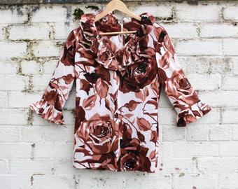 Vintage brown Rose floral print 60s 70s ruffle boho top penny lane blouse M L