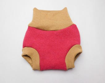 Wool cloth diaper cover for infant baby Upcycled soaker for nappies Recycled shorties for fitted diapers Handmade felted Medium size