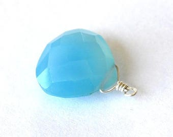 Beautiful blue chalcedony on silver wire pendant