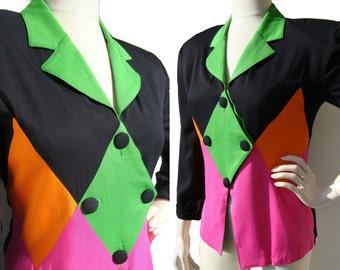 Vintage 80s Jacket Harlequin Color Block Memphis Design Geometric Blazer M