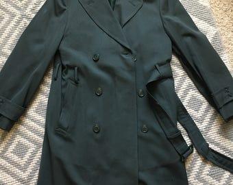 Vintage Green Wool Military Coat