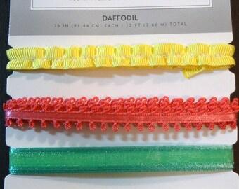 AMERICAN CRAFTS Ribbon -Scrapbook Embellishment - Daffodil