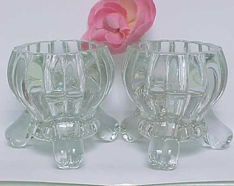 Vintage Jeannette Single Light Candlesticks in the National Pattern, Mid Century 3 Footed Clear Glass Candle Holders, 1950s Home Decor