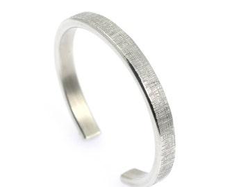 10 Year Anniversary Gift Thin Linen Aluminum Cuff Bracelet 10th Anniversary Gift Ten Year Anniversary Gift Aluminum Anniversary