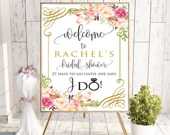 Floral Welcome Bridal Shower Sign, Bridal Shower, Bachelorette Party Wedding Decor Printable Bridal Shower Sign, #RC