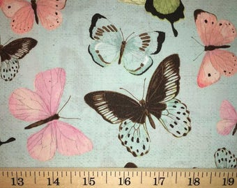 Butterflies on Mint Fabric Butterfly Insect Cotton Fabric a1-37