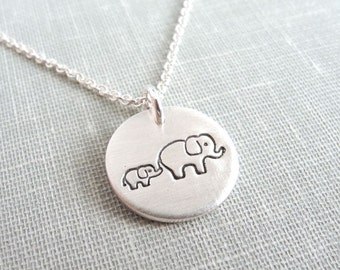Small Mother and Baby Elephant Necklace, New Mom Necklace, Mother and Child Jewelry, Fine Silver, Sterling Silver Chain, Made To Order