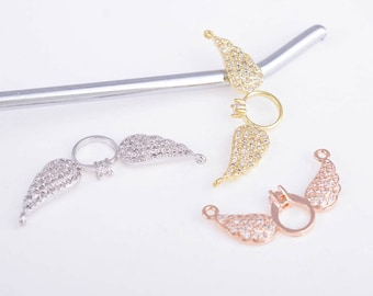 Angel wings charm,gold/rose gold/silver CZ wings charm,wings connector,wings necklace,wings pendant