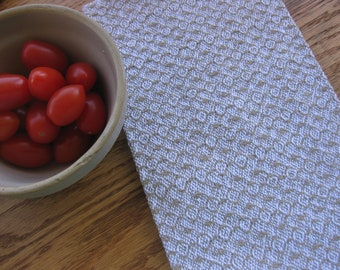 Taupe/Tan and White Handwoven Dish or Kitchen Towel
