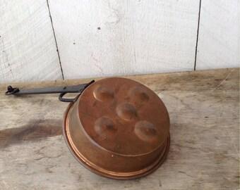 Antique Copper Egg Poacher, Copper Escargot Pan, Copper Pan with Iron Handle, Ebelskiver