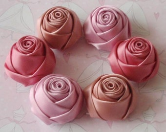 6 Handmade Rolled Roses (1-1/4 inches) in Tulip, Sweet nectar, Colonial Rose MY-106 -02 Ready To Ship