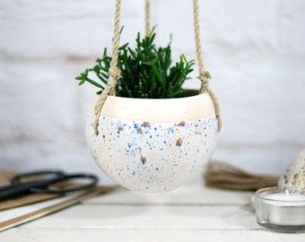 Ceramic hanging planter, ceramic pot, planter pot, pottery planter, garden planter, succulent planter, cactus planter, gift for gardener