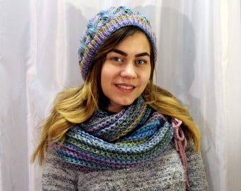 Set knitted hat and scarf  Dawn.
