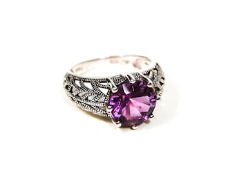 Amethyst Filigree Ring, Sterling Silver, Edwardian Style, Vintage Statement Ring, Size 7, February Birthstone